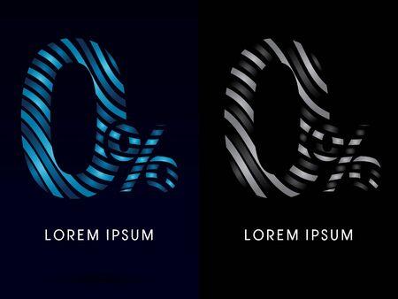 freestyle: 0, zero percent ,modern wave  font, designed using blue and black line on dark background, concept move, wave, water, freestyle, zebra line, fantasy, logo, symbol, icon, graphic, vector. Illustration