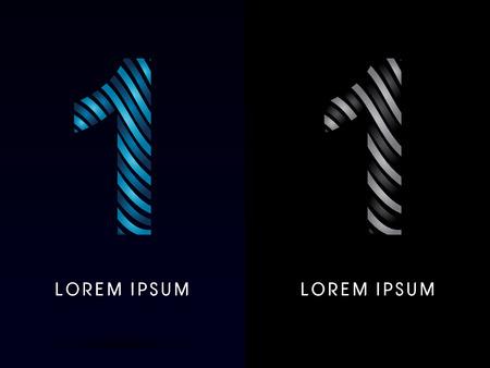 1 ,modern wave  font, designed using blue and black line on dark background, concept move, wave, water, freestyle, zebra line, fantasy, logo, symbol, icon, graphic, vector.