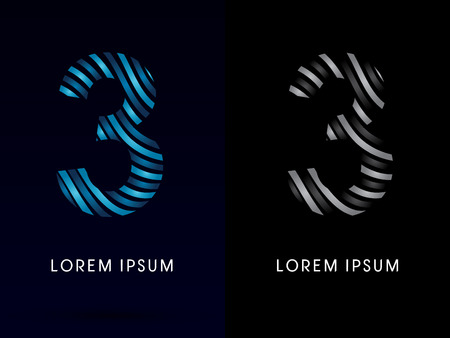 third birthday: 3 ,modern wave  font, designed using blue and black line on dark background, concept move, wave, water, freestyle, zebra line, fantasy, logo, symbol, icon, graphic, vector.