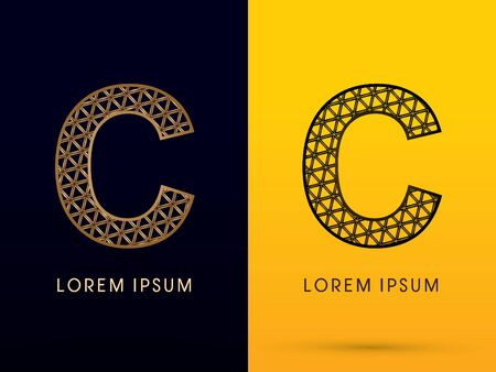 diamonds on black: C ,Luxury font, designed using gold and black triangle geometric shape. on dark and yellow  background, sign ,logo, symbol, icon, graphic, vector.