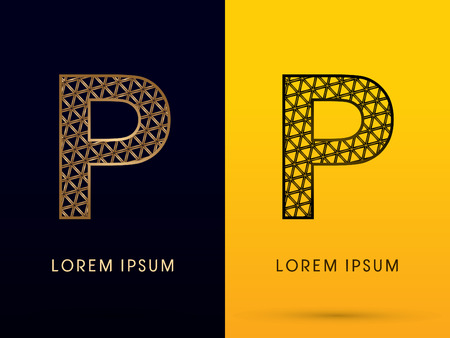 p buildings: P ,Luxury font, designed using gold and black triangle geometric shape. on dark and yellow  background, sign ,logo, symbol, icon, graphic, vector.
