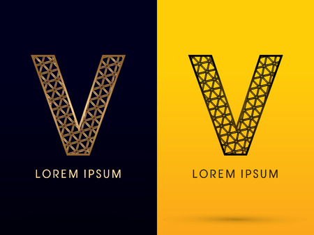 v shape: V ,Luxury font, designed using gold and black triangle geometric shape. on dark and yellow  background, sign ,logo, symbol, icon, graphic, vector. Illustration