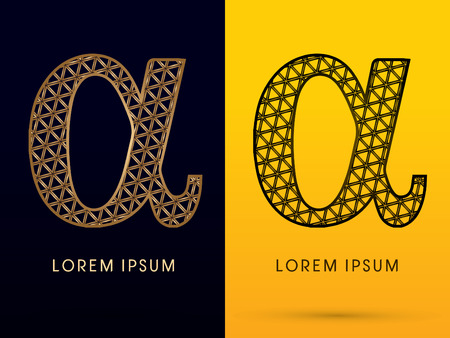 alpha: Alpha ,Luxury font, designed using gold and black triangle geometric shape. on dark and yellow  background, sign ,logo, symbol, icon, graphic, vector.