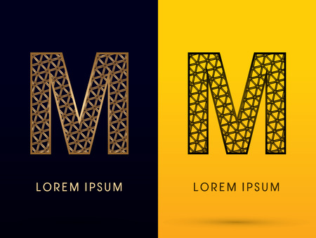 building structure: M ,Luxury font, designed using gold and black triangle geometric shape. on dark and yellow  background, sign ,logo, symbol, icon, graphic, vector.