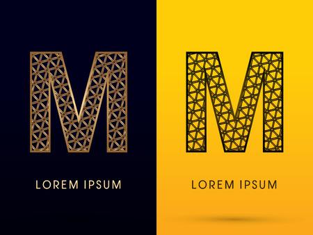 logo batiment: M, police de luxe, conçu en utilisant l'or et triangle noir forme géométrique. sur fond sombre et jaune, signe, logo, symbole, icône, graphique, vecteur.