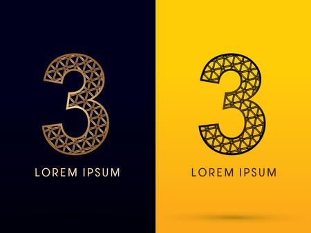 third birthday: 3 ,Luxury font, designed using gold and black triangle geometric shape. on dark and yellow  background, sign ,logo, symbol, icon, graphic, vector.