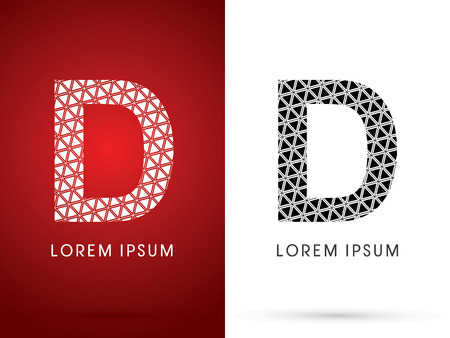 d data: D ,Modern font, designed using white and black triangle geometric shape. on red and white background, sign ,logo, symbol, icon, graphic, vector.