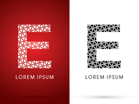 e white: E ,Modern font, designed using white and black triangle geometric shape. on red and white background, sign ,logo, symbol, icon, graphic, vector.