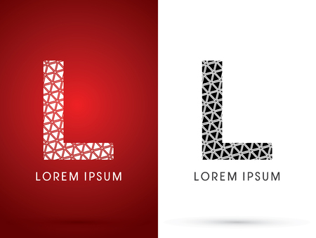 l background: L ,Modern font, designed using white and black triangle geometric shape. on red and white background, sign ,logo, symbol, icon, graphic, vector.