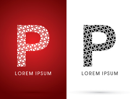 p buildings: P ,Modern font, designed using white and black triangle geometric shape. on red and white background, sign ,logo, symbol, icon, graphic, vector. Illustration