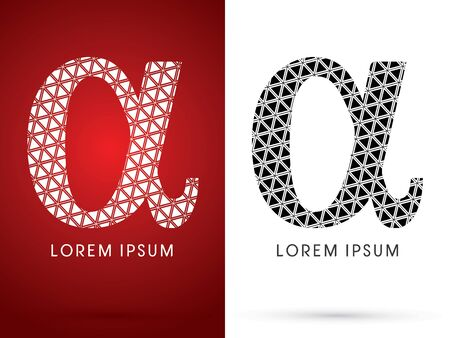 alpha: Alpha ,Modern font, designed using white and black triangle geometric shape. on red and white background, sign ,logo, symbol, icon, graphic, vector.