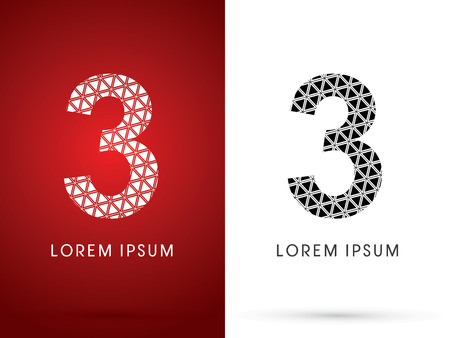 third birthday: 3 ,Modern font, designed using white and black triangle geometric shape. on red and white background, sign ,logo, symbol, icon, graphic, vector.
