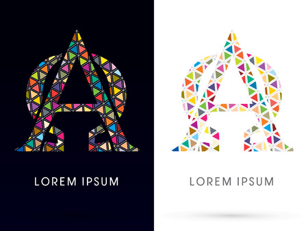 alpha: Alpha and Omega ,Colorful font, concept mosaic pattern,designed using colors triangle geometric shape. on dark and white background, sign ,logo, symbol, icon, graphic, vector.