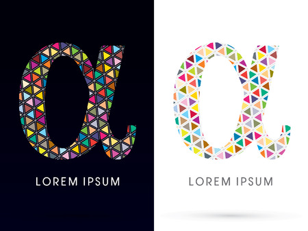 alpha: Alpha ,Colorful font, concept mosaic pattern,designed using colors triangle geometric shape. on dark and white background, sign ,logo, symbol, icon, graphic, vector. Illustration