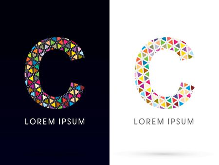 c design: C ,Colorful font, concept mosaic pattern,designed using colors triangle geometric shape. on dark and white background, sign ,logo, symbol, icon, graphic, vector. Illustration