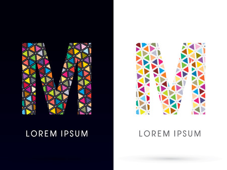 letter m: M ,Colorful font, concept mosaic pattern,designed using colors triangle geometric shape. on dark and white background, sign ,logo, symbol, icon, graphic, vector.
