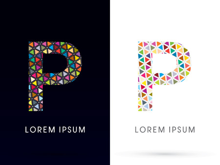 p buildings: P ,Colorful font, concept mosaic pattern,designed using colors triangle geometric shape. on dark and white background, sign ,logo, symbol, icon, graphic, vector.
