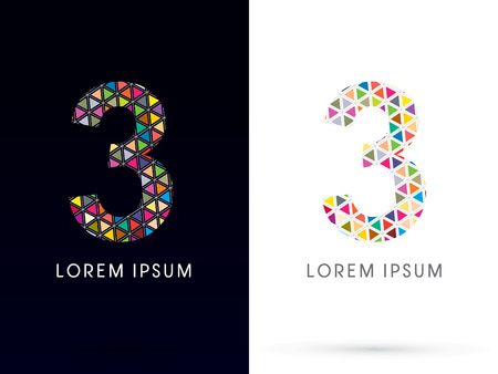 third birthday: 3 ,Colorful font, concept mosaic pattern,designed using colors triangle geometric shape. on dark and white background, sign ,logo, symbol, icon, graphic, vector. Illustration