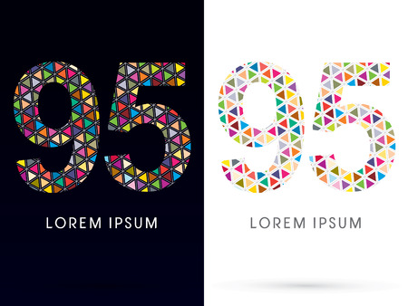 95: 95 ,Colorful font, concept mosaic pattern,designed using colors triangle geometric shape. on dark and white background, sign ,logo, symbol, icon, graphic, vector.
