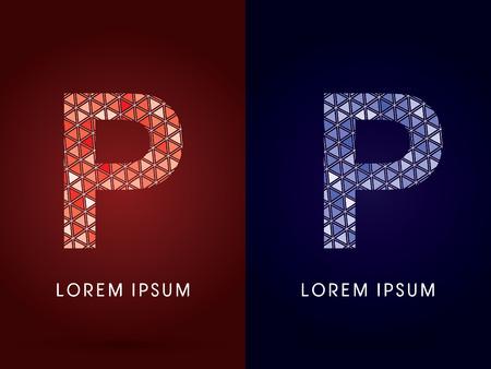 p buildings: P ,Colorful font, concept mosaic pattern, graphic, vector.