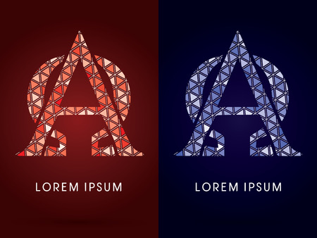 alpha: Alpha and Omega ,Colorful font, concept mosaic pattern, graphic, vector.