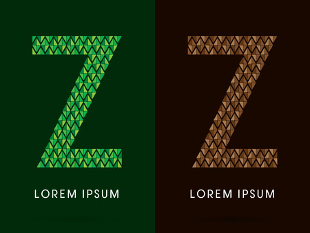 rock logo: Z , font, concept leaf and rock, designed using colors green and brown colors tone geometric shape on dark background, sign ,logo, symbol, icon, graphic, vector. Illustration
