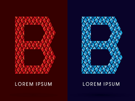 fire font: B ,Abstract font, concept hot and cool, fire and ice, graphic, vector. Illustration