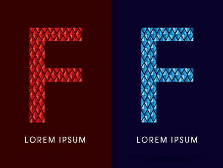 fire and ice: F ,Abstract font, concept hot and cool, fire and ice, graphic, vector.