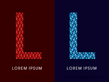 fire and ice: L ,Abstract font, concept hot and cool, fire and ice, graphic, vector.