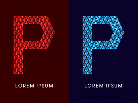 p buildings: P ,Abstract font, concept hot and cool, fire and ice, graphic, vector.