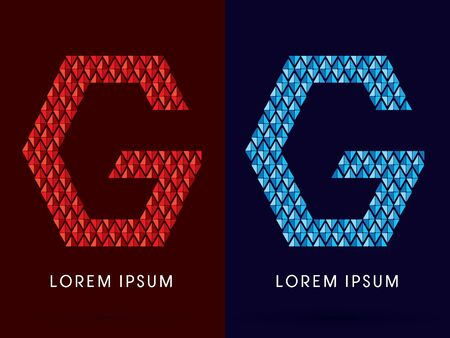fire font: G ,Abstract font, concept hot and cool, fire and ice, graphic, vector. Illustration