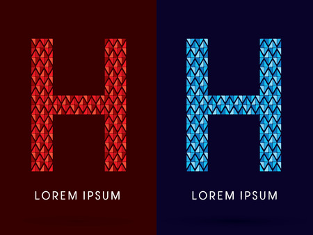 fire and ice: H ,Abstract font, concept hot and cool, fire and ice, graphic, vector. Illustration