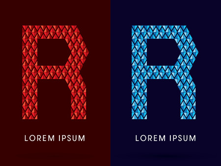 fire and ice: R ,Abstract font, concept hot and cool, fire and ice, graphic, vector. Illustration