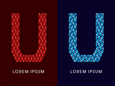 fire and ice: U ,Abstract font, concept hot and cool, fire and ice, graphic, vector.
