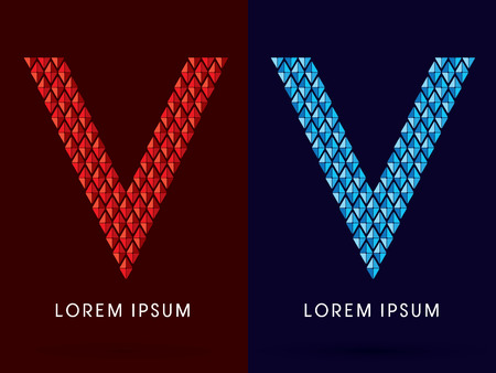 fire font: V ,Abstract font, concept hot and cool, fire and ice, graphic, vector. Illustration