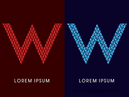fire and ice: W ,Abstract font, concept hot and cool, fire and ice, graphic, vector. Illustration