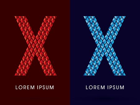 fire and ice: X ,Abstract font, concept hot and cool, fire and ice, graphic, vector.