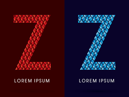 fire font: Z ,Abstract font, concept hot and cool, fire and ice, graphic, vector.