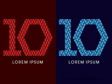 fire font: 10 ,Abstract font, concept hot and cool, fire and ice, graphic, vector. Illustration