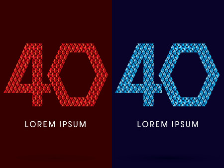 fire and ice: 40 ,Abstract font, concept hot and cool, fire and ice, graphic, vector. Illustration