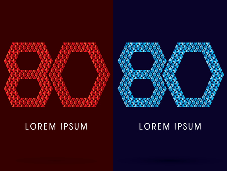 fire font: 80 ,Abstract font, concept hot and cool, fire and ice, graphic, vector. Illustration