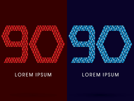 fire and ice: 90 ,Abstract font, concept hot and cool, fire and ice, graphic, vector. Illustration