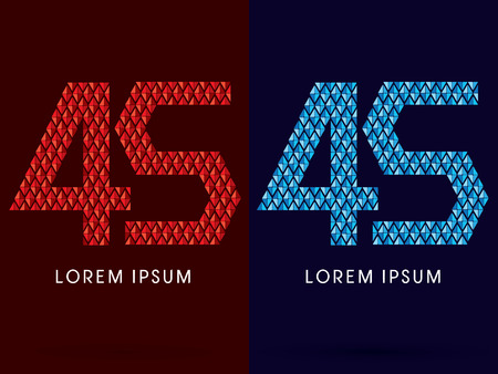 fire font: 45 ,Abstract font, concept hot and cool, fire and ice, graphic, vector.