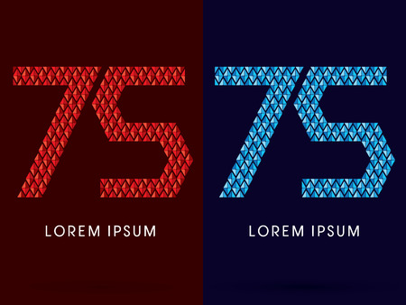 fire and ice: 75 ,Abstract font, concept hot and cool, fire and ice, graphic, vector.