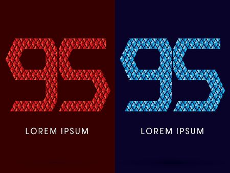 fire and ice: 95 ,Abstract font, concept hot and cool, fire and ice, graphic, vector.