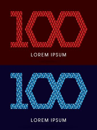 fire font: 100 ,Abstract font, concept hot and cool, fire and ice, graphic, vector.