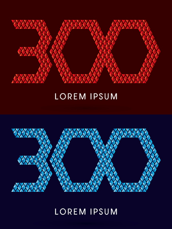 fire font: 300 ,Abstract font, concept hot and cool, fire and ice, graphic, vector. Illustration