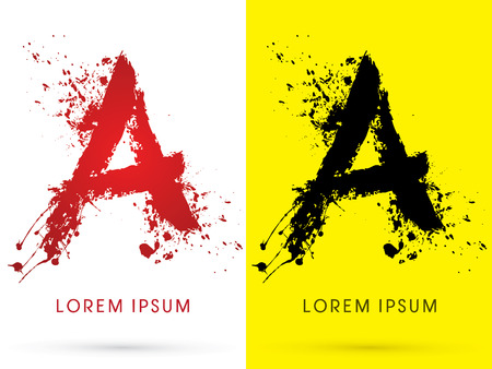 disperse: A ,font, concept blood and splash, designed using red and black  colors grunge brush, sign ,logo, symbol, icon, graphic, vector.