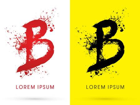 disperse: B ,font, concept blood and splash, designed using red and black  colors grunge brush, sign ,logo, symbol, icon, graphic, vector. Illustration