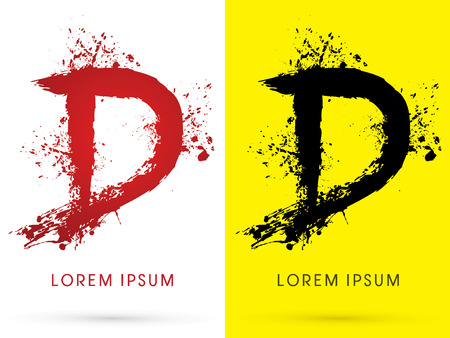 d: D ,font, concept blood and splash, designed using red and black  colors grunge brush, sign ,logo, symbol, icon, graphic, vector. Illustration